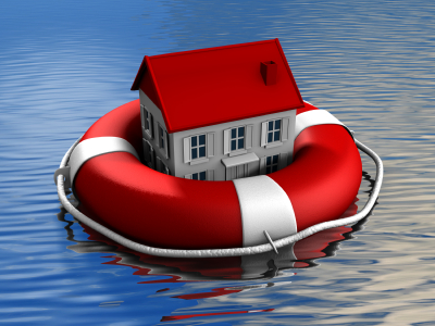A house floating in a life buoy