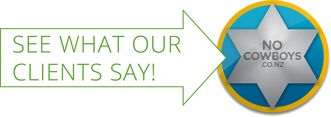 Large white arrow with green outline, containing the text, See What Our Clients Say. The arrow points to the No Cowboys logo.